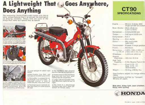 Honda Trail CT90 Ad - A light weight that goes anywhere, does anything.